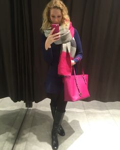 Zara dress, mohito scarf and michael kors bag and boots  #zara #michael kors