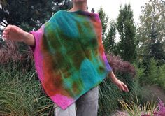 colorful poncho, unique knit wool poncho, hand dyed wool sweater, artsy wrap, green pink overlay, warm cover, women poncho, gift for her 119 by AnnaDamzyn on Etsy