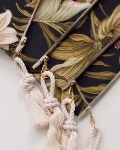Black Tropical Zipper Pouch Monogram Makeup by theAtlanticOcean