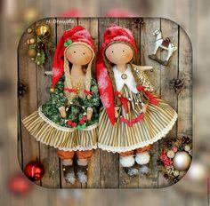 Купить Волшебный ангел рождества интерьерная текстильная кукла - ярко-красный, новогодний, рождество, подарок