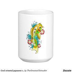 Cool oriental japanese rainbow koi carp fish coffee mug