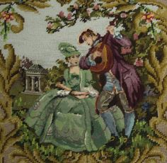 Set-4-Piece-Large-COMPLETED-Needlepoint-Chair-Canvas-Young-Lovers-Amazing-9