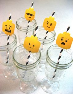 LEGO Birthday Straw Flags  Love This!
