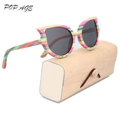 d731a90329 2017 Latest Fashionable Women S Bamboo Sunglasses Polarized Cat Eye Heart  Sunglasses Female - PINkart.in