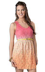 Flying Tomato® Women's Orange and Pink Ombre Lace with Belt Sleeveless Dress