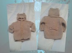 Toddlers Teddy Hooded Jacket - just finished - images shows false belted back & front