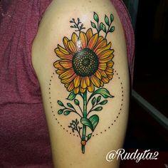 Sunflower tattoo done by Rudy Acosta Artist and tattooist from clovis ink tattoo. Original art unknown color by rudy.  #tattoo #tattoooftheday #tattoos #tattooed #inkedup #inked #clovisink #clovisinktattoo #cooltattoos #flower #simpletattoo #sunflowertattoo #sunflower #girltattoo #femaletattoo #rudyacosta #rudy #rudytattoo #armtattoo #colortattoo #cooltattoos #tattooforwoman