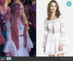 Maya's white lace striped long sleeve dress on Girl Meets World.  Outfit Details: http://wornontv.net/52924/ #GirlMeetsWorld  Buy it at Nordstrom: http://wornon.tv/32212