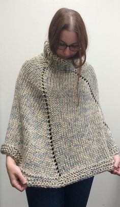 Effortlessly Chic chunky turtleneck knit sweater poncho - greige or choose your color Poncho Knitting Patterns, Knitting Yarn, Knit Patterns, Free Knitting, Yarn Twist, Poncho Sweater, Knitted Poncho, Garter Stitch, Yarn Colors