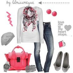 """Pink + Grey"" by lilmissmegan on Polyvore"