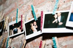 Glitter clothespins to hang Polaroids with at your #wedding reception!