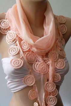 Salmon pink - Elegance Shawl / Scarf with Lace Edge. $16.90, via Etsy.