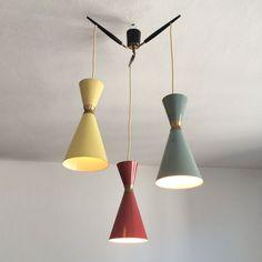 Rare & Gorgeous Mid Century Modern TRI-COLOR CHANDELIER Diabolo Pendant Lamp | Stilnovo | Arteluce | Sarfatti Era