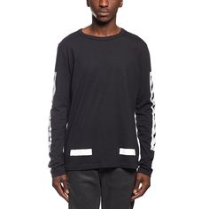 Brushed diagonals LS tee from the F/W2016-17 Off-White c/o Virgil Abloh collection in black