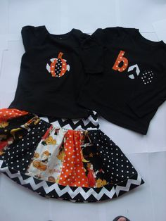 Halloween Sibling Set Brother Sister Halloween Outfits Halloween Twirly Skirt Set Boys Applique Halloween Top Chevron Skirt Chevron Applique. $50.00, via Etsy.