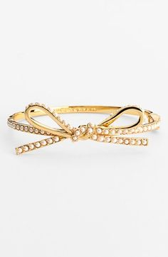 kate spade new york 'skinny mini' faux pearl bow bangle available at #Nordstrom