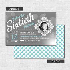 MILESTONE BIRTHDAY INVITATIONS -  Modern/Vintage Design w/ Photo (Printable Party Files) - by nowanorris on Etsy