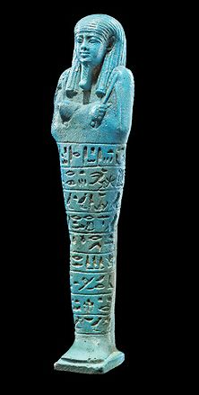egyptian ushabti burial figure made of faience soft glazed ceramic material - Faience Colore