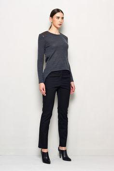 Gray Sweater with Leather Detail