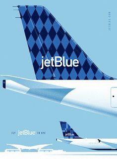 Design studio Lab Partners in Oakland, California created these wonderful vintage-style JetBlue poster ads. The posters were made for Goodby, Silverstein, Partners as part of the San Francisc. Gig Poster, Blue Poster, Vintage Travel Posters, Vintage Ads, Vintage Style, Retro Style, Vintage Airline, Vintage Logos, Jet Blue Airlines