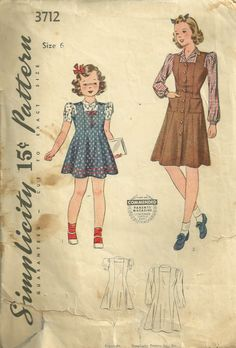1940s Simplicity 3712 Girls Dress Jumper  and Blouse by mbchills, $8.00