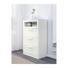 BRIMNES 4-drawer dresser - white/frosted glass - IKEA