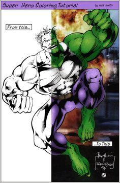 Super Hero Coloring Tutorial:  http://www.tutorialized.com/view/tutorial/Comic-book-graphic-novel-digital-coloring/11112