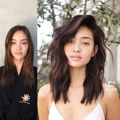 Haircut For Big Forehead, Haircut For Square Face, Square Face Hairstyles, Hair Cuts Square Face, Middle Length Hairstyles, Medium Hair Cuts, Long Hair Cuts, Medium Hair Styles, Curly Hair Styles
