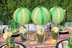 Bright Neon   Festive Summer Stripe Tablescape | CatchMyParty.com