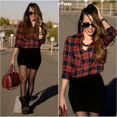 20 ways to wear the tartan shirt - Mode Féminine Ankle Boots Outfit Winter, Winter Boots Outfits, Winter Skirt Outfit, Casual Winter Outfits, Fall Outfits, Ankle Boot Outfits, Black Mini Skirt Outfit, Winter Tights, Ugg Boots