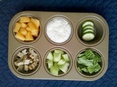 Let the kids have fun with lunch and serve it to them in a muffin pan. Perfect for dipping those veggies and fruits.