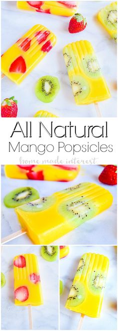 All Natural Mango Popsicles | Fruit popsicles are a great way to get your kids to eat more fruits and to stay hydrated in the summer. These all natural mango popsicles are mixed with kiwi and strawberry pieces for delicious no sugar added fruit popsicles. These beautiful mango kiwi popsicles and mango strawberry popsicles are going to be an awesome summer popsicle recipe for kids and adults! #BritaStream #ad