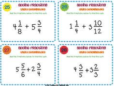 Adding & Subtracting Fractions Task Cards { Add & Subtract UNLIKE denominators }