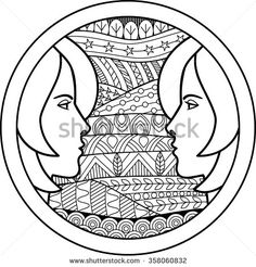 Zodiac sign Gemini. Vector illustration of abstract zodiac sign for talismans, textile prints, tattoo