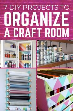 7 DIY projects to organize a craft room or organize an office. Use these easy to make projects to organize your space. Organize vinyl, create a calendar, store paper and more. Diy Projects Cans, Cool Diy Projects, Craft Room Storage, Craft Organization, Craft Rooms, Organizing Tips, Organisation Ideas, Desk Storage, Organising