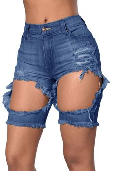 Orcfly Womens Plus Size Jeans Summer Denim Pants Blue Distressed Cutoff Bermuda Shorts Women Sexy Jeans Woman Jean Femme 78658 Ripped Shorts, Ripped Denim, Blue Shorts, Denim Shorts, Cutoffs, Cheap Jeans Online, Jean Short Outfits, Short Jeans, Bermuda Shorts Women