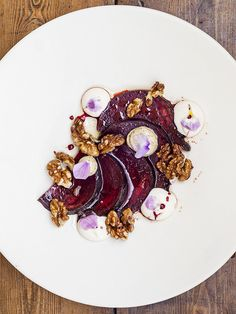 This recipe for salt-baked beetroot, smoked aubergine, goat's cheese and walnuts comes from Trinity in Clapham Old Town and makes a great veggie main.