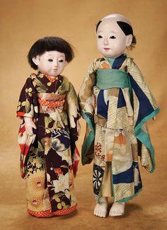 Kaleidoscope: 469 Early Japanese Paper Mache Ichimatsu Doll with Unusual Hair