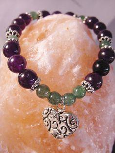 Heart Charm Amethyst & Green Aventurine Stretch Bracelet, Semi Precious Stones, Intuition, Chakra Bracelet, Reiki Bracelet, Free Shipping