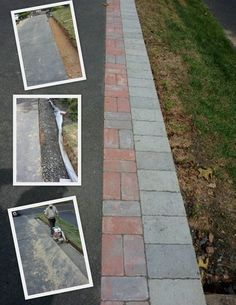 asphaly driveway paver edging- sorry no good link from pic Blacktop Driveway, Asphalt Driveway, Driveway Border, Driveway Apron, Driveway Landscaping, Driveway Ideas, Driveway Pavers, Diy Driveway, Paver Walkway