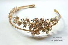 Double band golden tiara - Style #147 - Ready to Ship Gold (best sellers, hair adornments, headbands, headpieces, ready to ship, twigs & honey, view all) | Headbands | Twigs & Honey ®, LLC