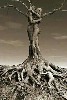 "This image reminds me of a part in ""Thanatopsis"" by William Cullen Bryant where he says that he will become brother to the insensible rock and be one with the trees again. These two people are intertwined with the roots of the tree and grew to be one with it, just like many transcendentalist writers did when they escaped into nature."