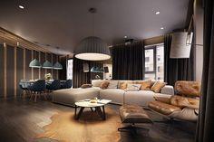 Colori moderni e naturali per la zona living - open space: legno, pelle e sfumature blu