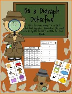 Be a Digraph Detective from Sunshine and Lollipops on TeachersNotebook.com -  (6 pages)  - This activity reinforces spelling of words with digraphs.  It supports word work, spelling, and phonics. It can be used for ELL students and interventions.