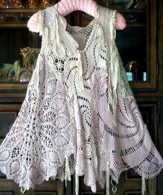 images about Crochet doily Moda Vintage, Vintage Lace, Crochet Clothes, Diy Clothes, Lace Outfit, Altering Clothes, Linens And Lace, Lace Doilies, Corsage