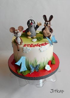 Mole and friends - cake by Jitkap Mickey Mouse Birthday Cake, 80 Birthday Cake, Friends Cake, Cute Cakes, Mole, Cake Cookies, Cake Designs, Chocolate, Designer Cakes