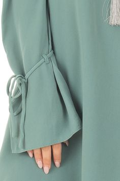 Moss Green Cold Shoulder Dress with Sleeve Tie Details detail