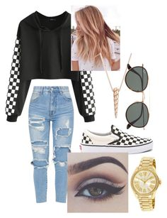 """Checkerboard"" by caleighb2 ❤ liked on Polyvore featuring Vans, Ginette NY, Bellezza, Ray-Ban and Michael Kors"