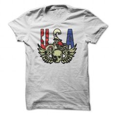 USA Motorcycle Skull and Wings T-shirt for Bikers T-Shirt Hoodie Sweatshirts iua. Check price ==► http://graphictshirts.xyz/?p=76398