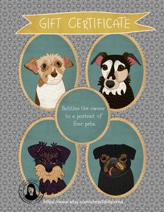 Gift certificate. Four pet portraits. Instant download.